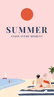 Sommervorlage mit sonnenbadenden menschen, remixed von kunstwerken von george barbier