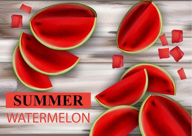Sommerwassermelone auf hölzernem hintergrund