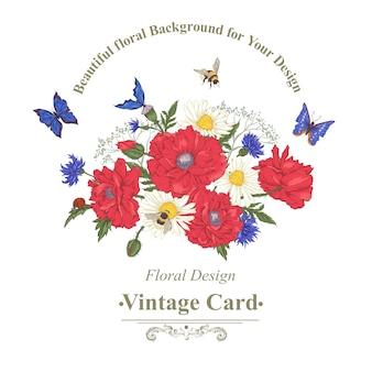 Sommerweinlese-blumenstrauß. grußkarte mit blühenden roten mohnblumen-kamille-marienkäfer-gänseblümchen-kornblumen-hummel-biene und blauen schmetterlingen.