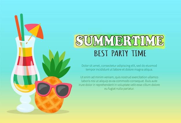 Sommerzeit-beste party-zeitfahne mit cocktail