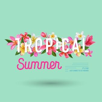 Sommerzeit-blumenhintergrund-tropisches blumen-design