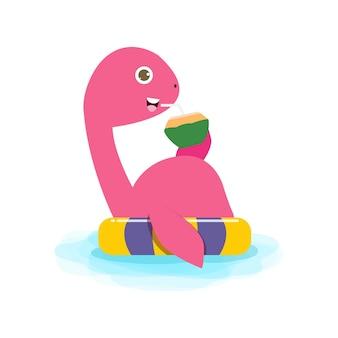 Sommerzeit des süßen dinosaurierbabys beim schwimmen und gummiring-dino-karikatur, der auf schlauchboot schwimmt
