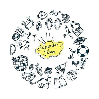 Sommerzeit-doodle-set in rundem druck wassersport entspannen und tropische urlaubsobjekte