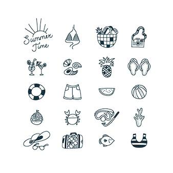 Sommerzeit-doodle-set, wenn symbole badebekleidungskamera tropische früchte und andere objekte