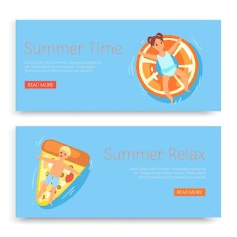 Sommerzeit, entspannen, inschrift am set s, tropischer blauer ozean, tourismus exotischer urlaub, illustration. junge, schönes mädchen, kinder auf gummiringen, schwimmendes wasser, lustige kerle.