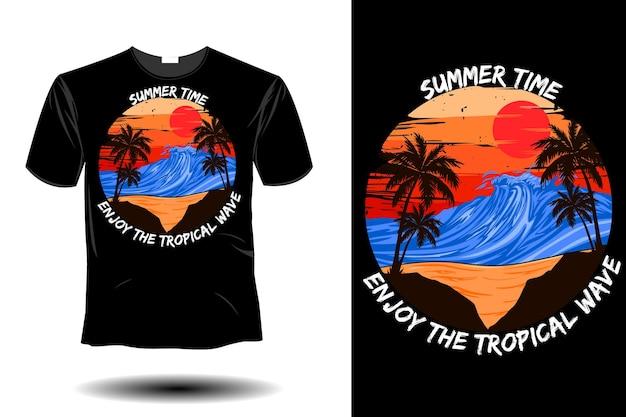 Sommerzeit genießen sie das retro-vintage-design des tropischen wellenmodells