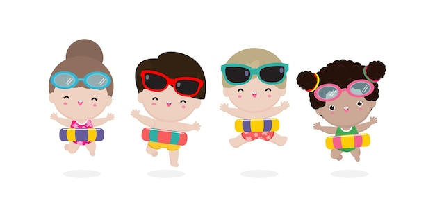 Sommerzeit glückliche gruppenkinder in schwimmkleidung mit aufblasbaren spielzeugen