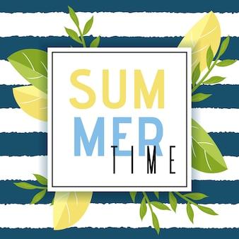 Sommerzeit-gruß in der rahmen-flachen illustration