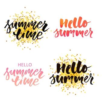Sommerzeit, hallo sommervektortextbeschriftungskalligraphie beschriftet schwarzes