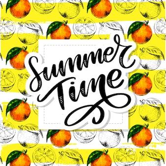 Sommerzeit handgeschriebene beschriftung mit aquarellorangenfrucht mit blättern.