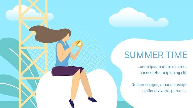 Sommerzeit-horizontale fahne, frau, die vor telekommunikation sitzt