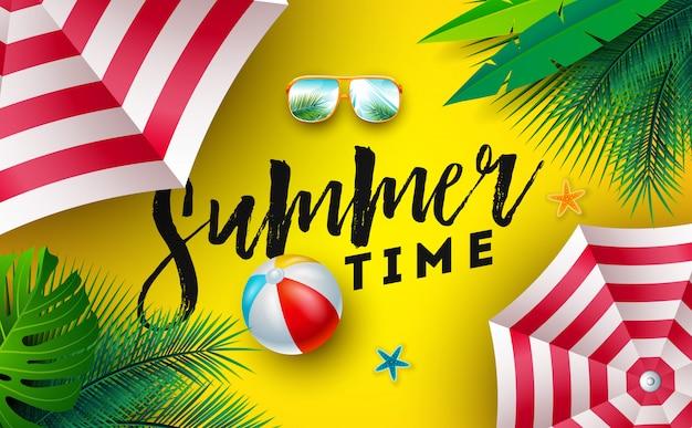 Sommerzeit-illustration mit sonnenschutz