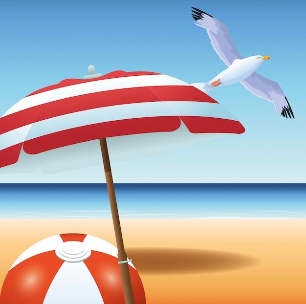 Sommerzeit im wasserballferienseemöwenregenschirm-meersand