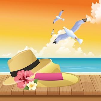 Sommerzeit in den strandferienhüten blüht seemöwenblätter