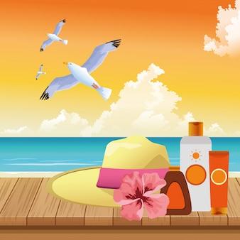Sommerzeit in den strandferienhut-sonnenblockseemöwen auf hölzernem