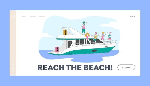 Sommerzeit kreuzfahrt landing page vorlage. junge leute, die sich auf luxusyacht am ozean entspannen. glückliche charaktere ruhen auf dem schiff, springen zum meer, trinken und nehmen ein sonnenbad. linear