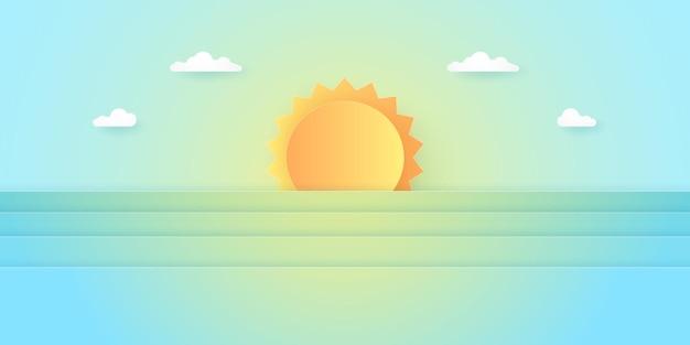 Sommerzeit, landschaft, bewölkter himmel mit strahlender sonne, papierkunststil