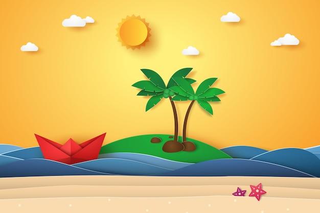 Sommerzeit, meer mit insel, origami-boot, strand und kokospalme, papierkunststil