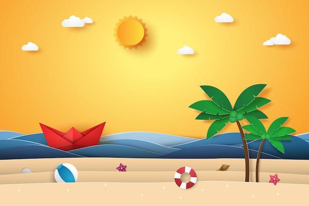 Sommerzeit, meer mit origami-boot, strand und kokospalme, papierkunststil
