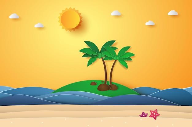 Sommerzeit, meer mit strand und kokospalme, papierkunststil