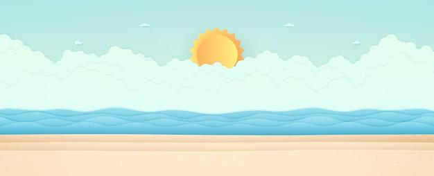 Sommerzeit, meerblick, landschaft, blaues meer mit strand, wolke und strahlender sonne, papierkunststil