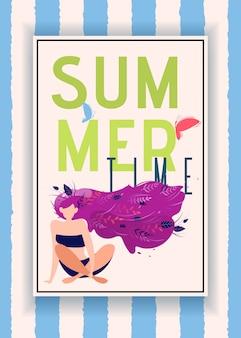 Sommerzeit-mitteilung im rahmen über gestreiftem hintergrund