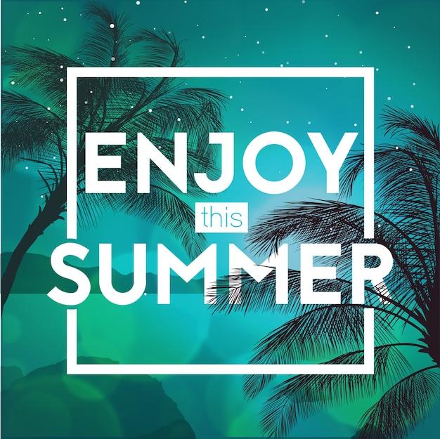 Sommerzeit party banner design vorlage mit palmen bäume silhouetten. moderner stil. vektorillustration