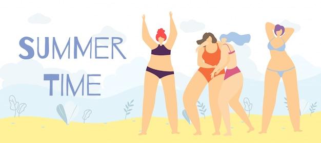 Sommerzeit-positive körper-karikatur-frauen-fahne