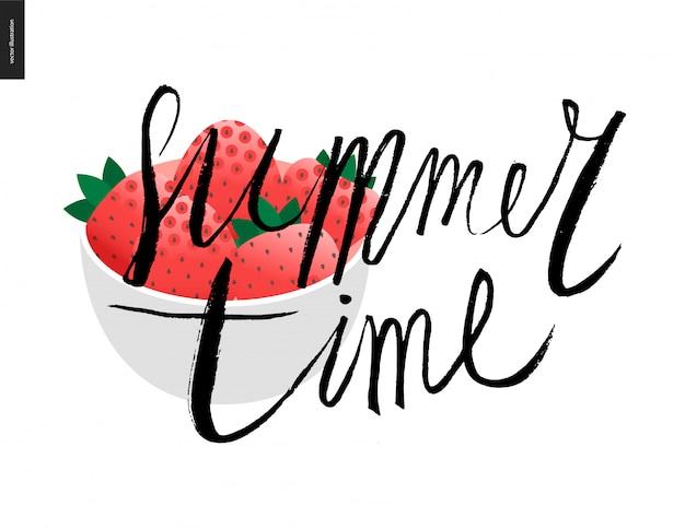Sommerzeit schriftzug und erdbeere