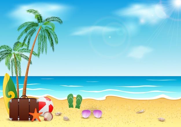 Sommerzeit-, see-, strand- und kokosnussbaum mit blauem himmel der schönheit.