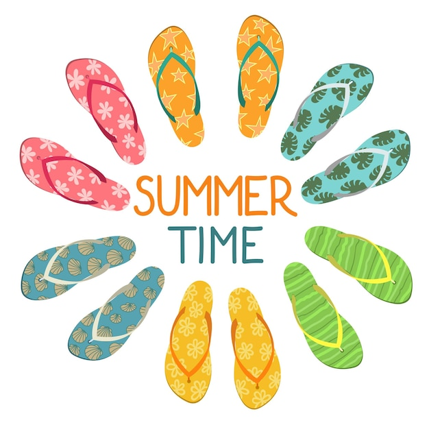 Sommerzeit set bunte flip flops