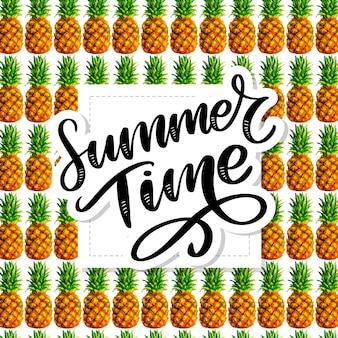 Sommerzeit slogan ananas, aquarell, palme, muster, frucht