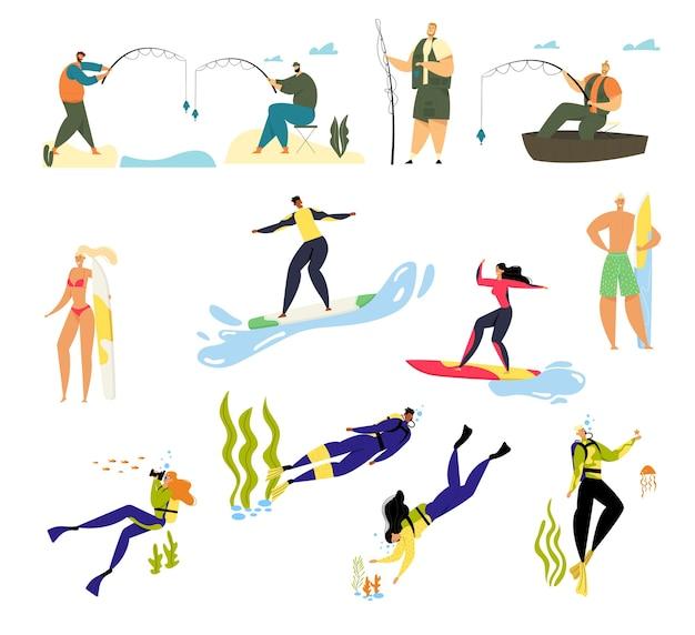 Sommerzeit sport aktivität und hobby set.