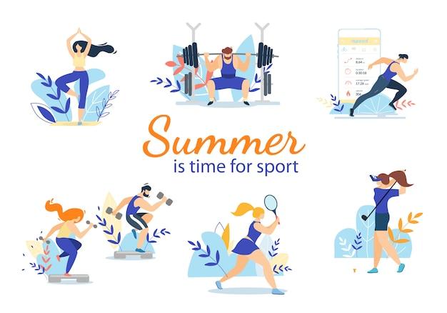 Sommerzeit-sport-aktivitäten eingestellt lokalisiert auf weiß