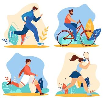 Sommerzeit-sportaktivitäten stellen sportübungen ein
