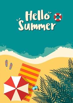 Sommerzeit und glücklicher feiertagsplakatschablonenhintergrund