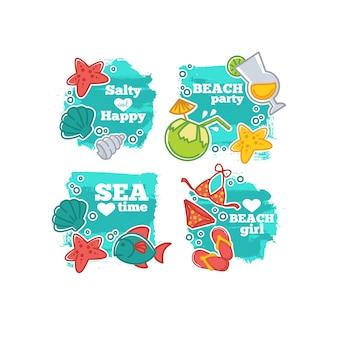 Sommerzeit und sea life tag set