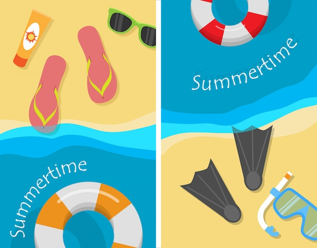Sommerzeit und strandurlaub illustration set.