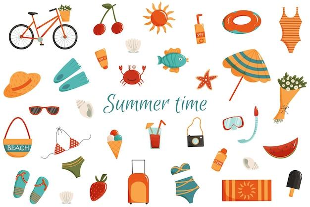 Sommerzeit-vektor-clipart-set von sommerkleidung früchte strand- und urlaubsartikel