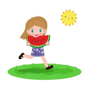 Sommerzeit-vorlagenbanner nette kleine kinder, die wassermelone halten und springen, die sich glücklich fühlen, wenn sie an heißen sonnigen tagen urlaub flach cartoon isoliert auf weißem hintergrund fühlen