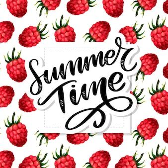Sommerzeitbeschriftung, aquarellmuster mit lustigen himbeeren auf dem weißen hintergrund