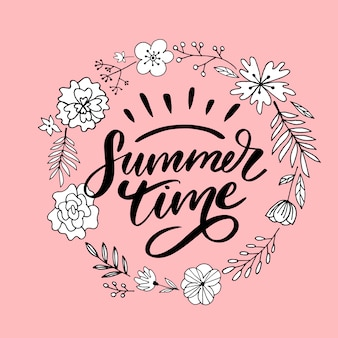 Sommerzeitbeschriftung mit blumenkranz