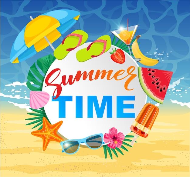 Sommerzeitdesign mit weißem kreis für text und bunte strandelemente