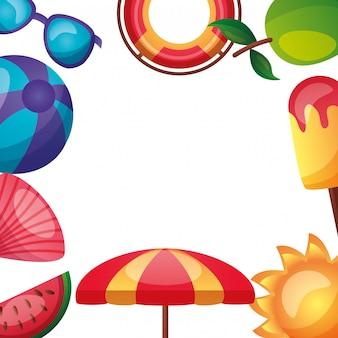 Sommerzeitfeiertagshintergrund mit copyspace
