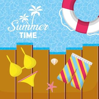Sommerzeitferien-strandillustration