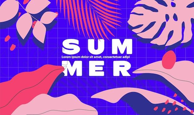 Sommerzeithintergrund-designschablone mit blauem kariertem pool und rosa tropischen blättern