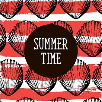 Sommerzeitillustration mit muscheln