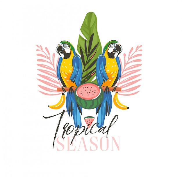 Sommerzeitillustrationen mit exotischen tropischen mit regenwald-papageien-ara-vögeln, wassermelone und tropischem jahreszeittext lokalisiert auf weißem hintergrund
