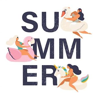 Sommerzeitillustrationskarte mit stift herauf mädchen.