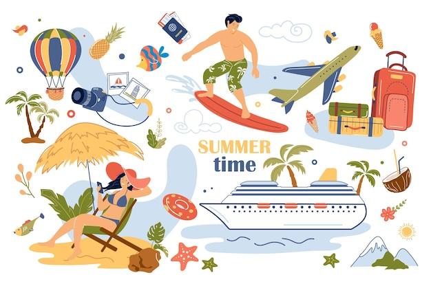 Sommerzeitkonzept isolierte elemente eingestellt